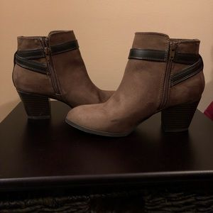 Express Olive Green Suede Buckle Booties